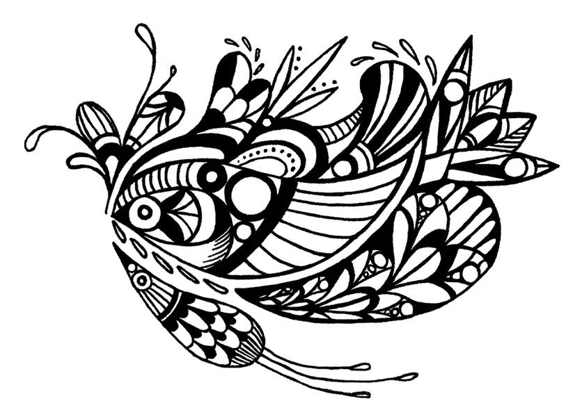 """Bird Abstraction"" (2014) digital version of original work in pen on paper"