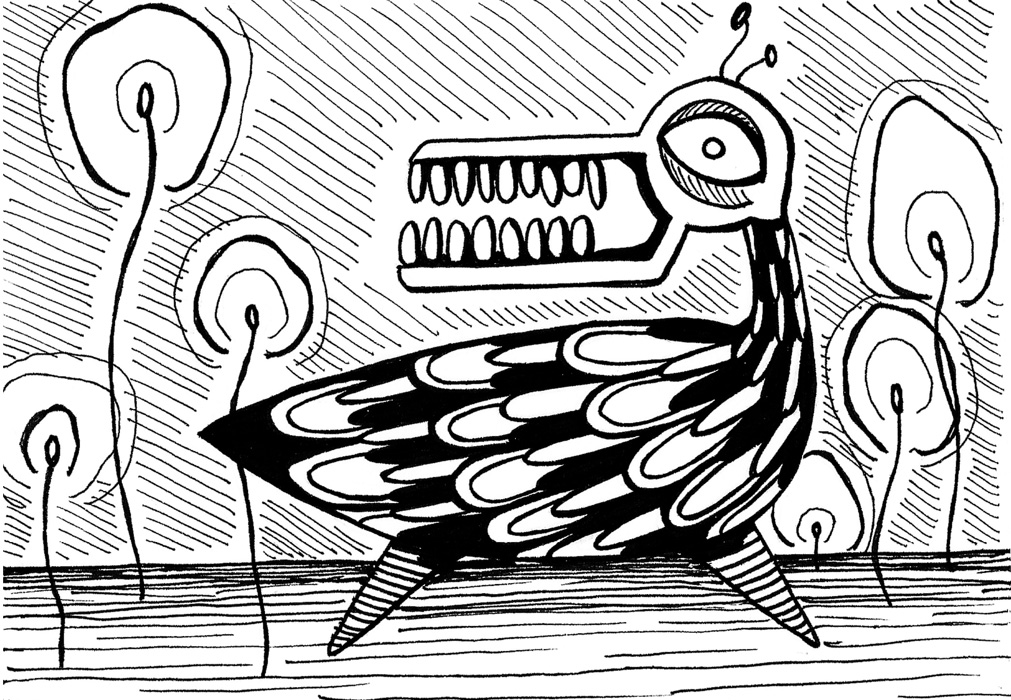 """Strange Bird"" (2013) digital version of original work in pen on paper"