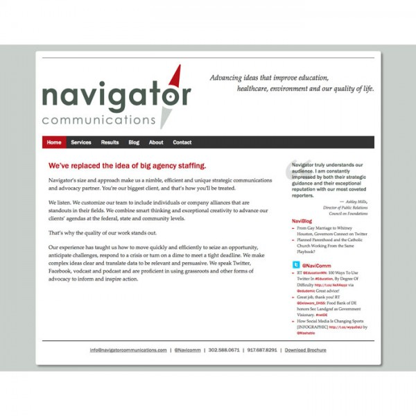 Web Design for Navigator Communications (2012)