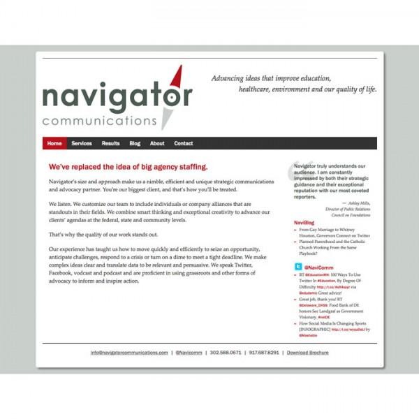 Web Design for Navigator Communications (2012)