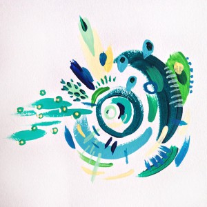 """""""Cyclone in Green and Blue"""" (2015) Acrylic on paper. 4 x 4 inches"""