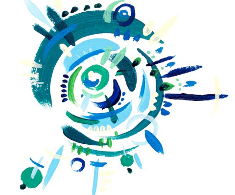 """""""Cyclone in Green and Blue 2"""" (2015) Acrylic on paper."""