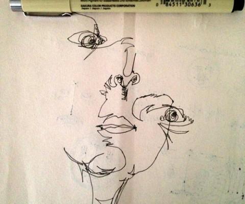 Blind contour portrait of the artist as E.T.