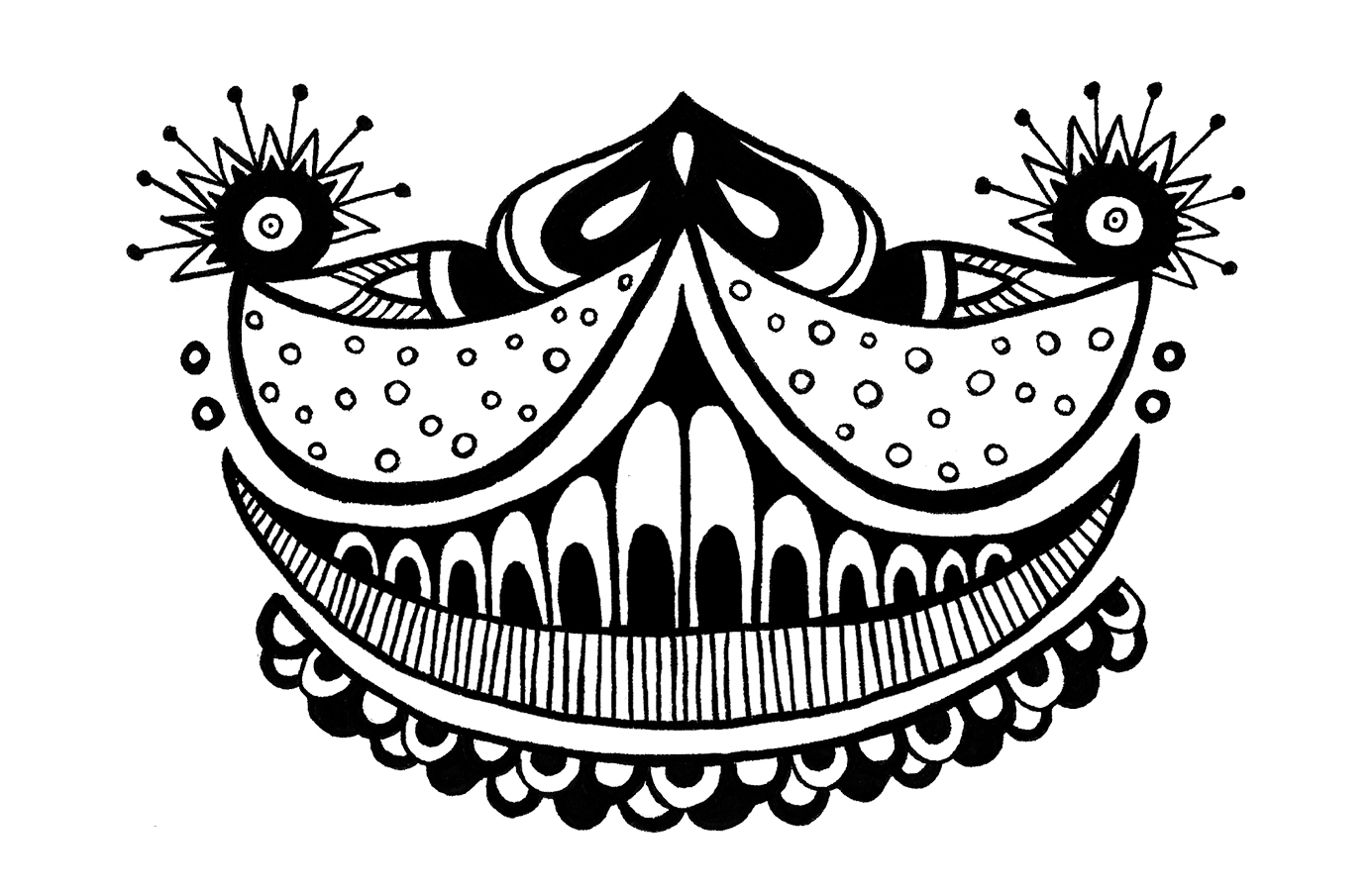 """""""Grin"""" (2014) Digital version of original work in pen on paper. 2.5 x 3.5 inches."""