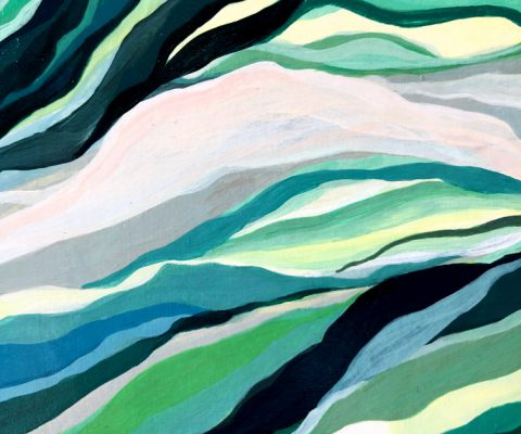 """""""Pradera Marina (detail)"""" [SOLD] (2017) Acrylic on wood-mounted paper. 9 x 12 inches."""