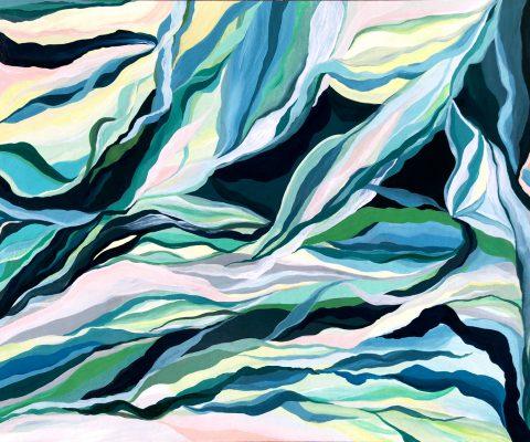 """Pradera Marina"" [SOLD] (2017) Acrylic on wood-mounted paper. 9 x 12 inches."