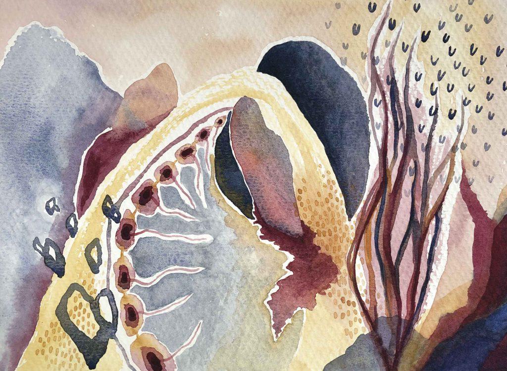 """""""Un Pasaje"""" (2019) 25.4 x 19 cm. Watercolor on paper."""