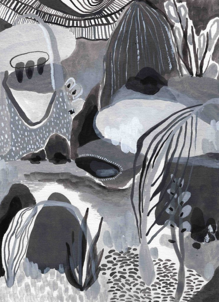 """Biome"" (2020) 14 x 19 cm. Acrylic gouache on paper."