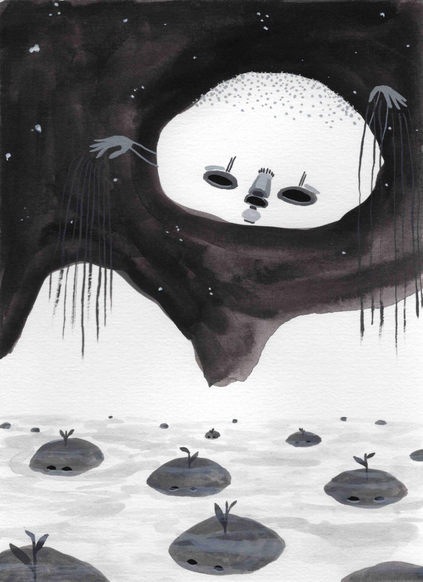 """Cultivo"" (2020) 14 x 19 cm. Acrylic gouache on paper."