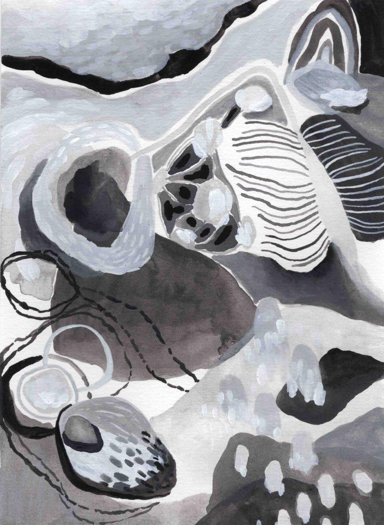 """""""Expansion"""" (2020) 14 x 19 cm. Acrylic gouache on paper."""