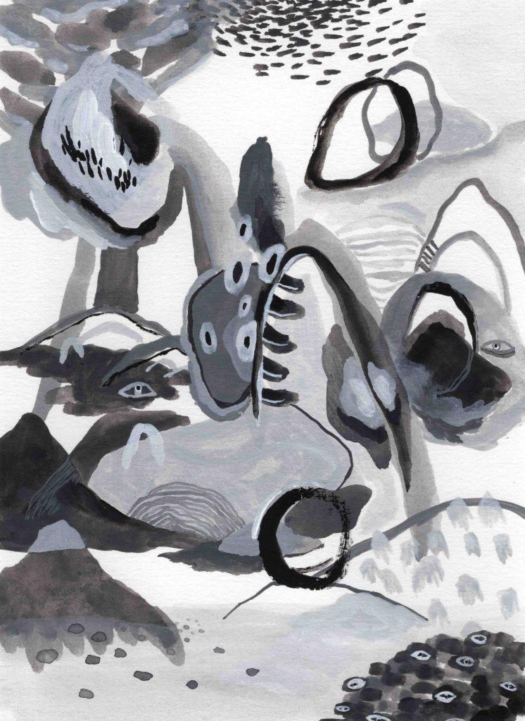 """""""Moveable Landscape"""" (2020) 14 x 19 cm. Acrylic gouache on paper."""