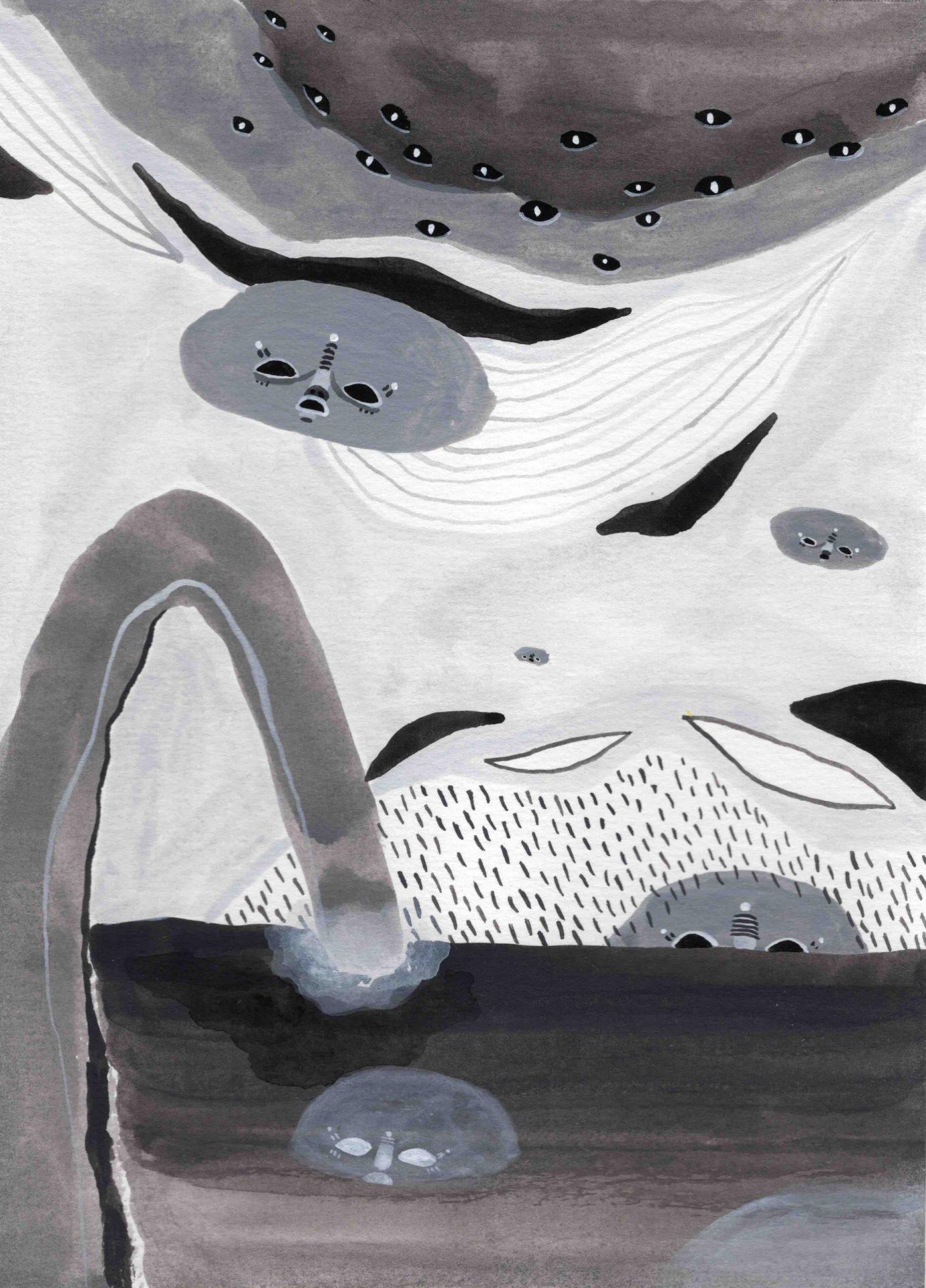"""""""Procesión"""" (2020) 14 x 19 cm. Acrylic gouache on paper."""