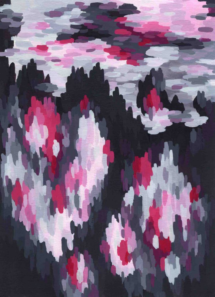 """Simulacrum"" (2020) 14 x 19 cm. Acrylic gouache on paper."