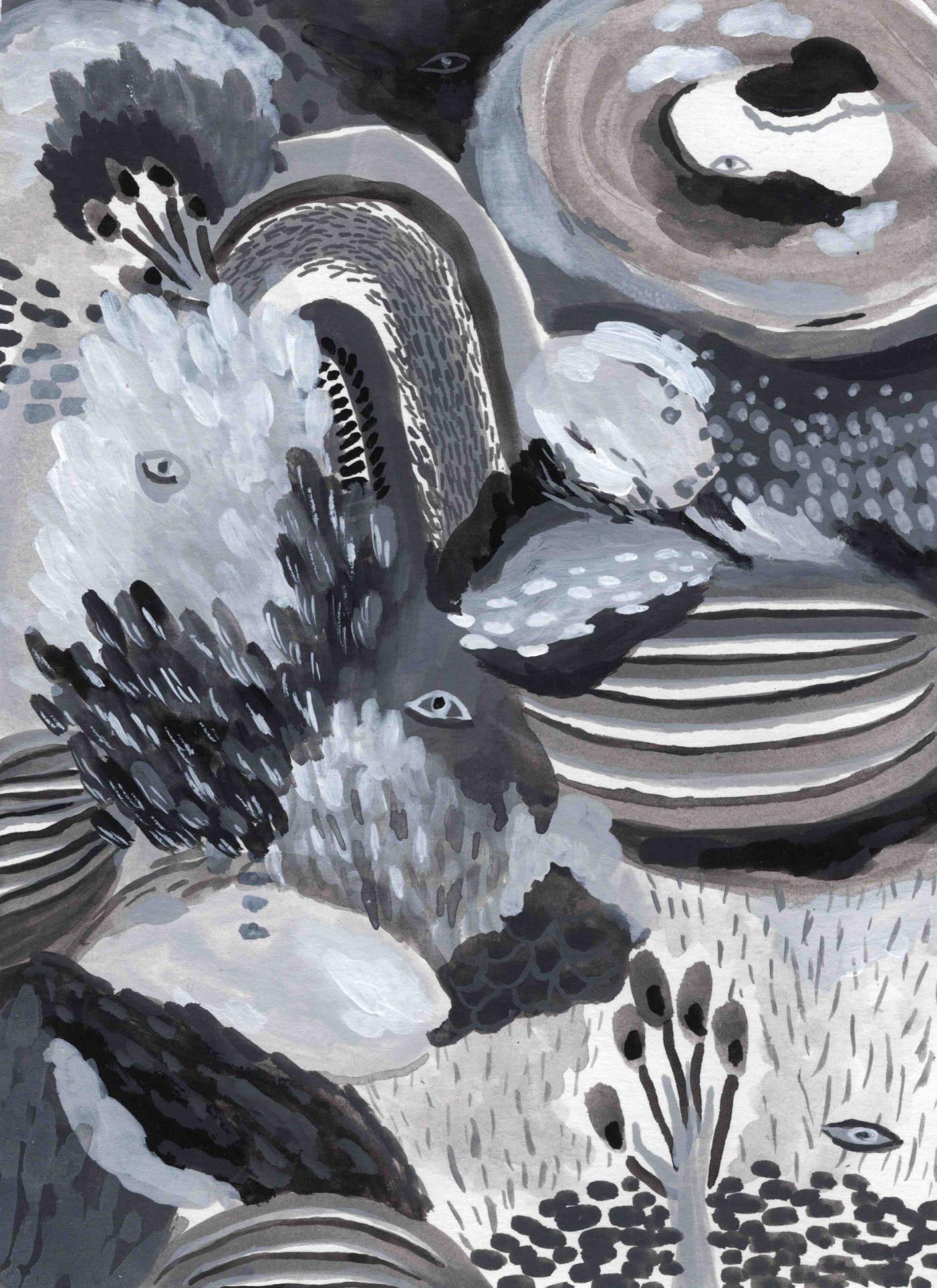 """""""Storming Landscape"""" (2020) 14 x 19 cm. Acrylic gouache on paper."""