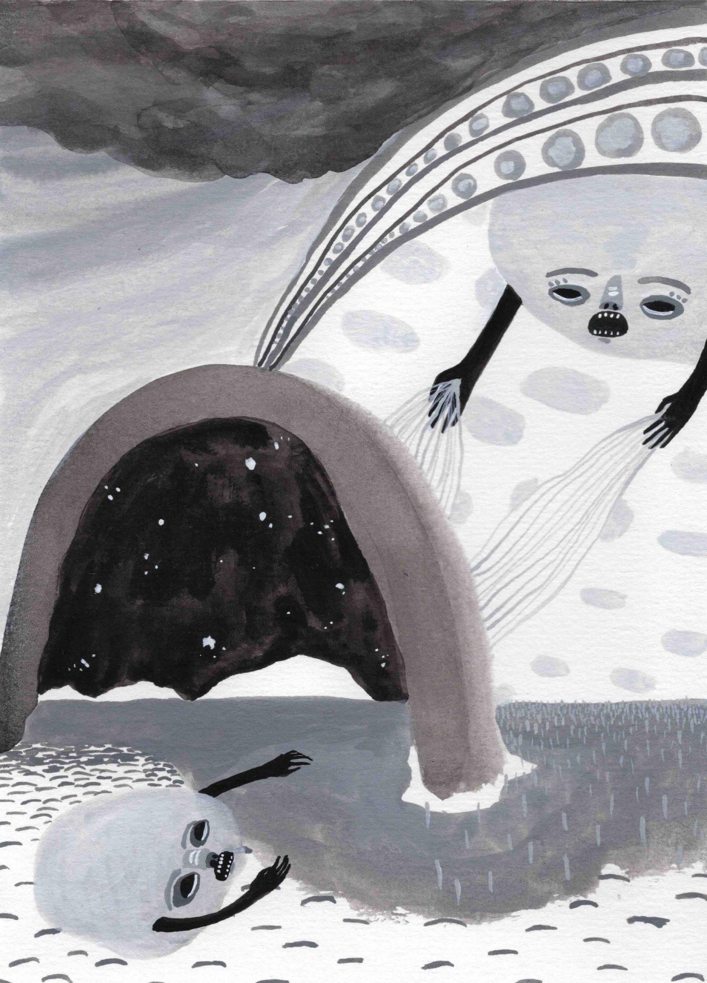 """Una maldición"" (2020) 14 x 19 cm. Acrylic gouache on paper."