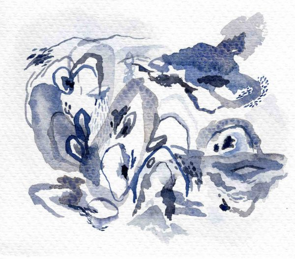 """Cala Azul"" (2020) 17.5 x 15 cm. Watercolor on paper."