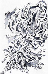 """""""Catarata Azul"""" (2020) 14 x 22.7 cm. Watercolor on paper."""
