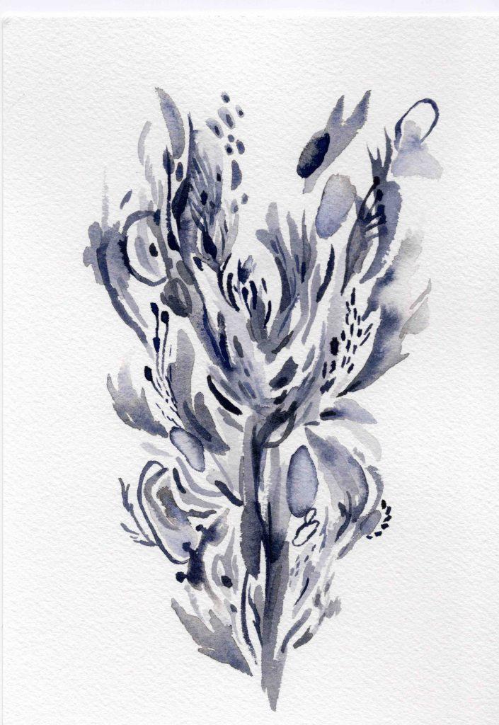 """Estela Azul"" (2020) 15 x 21 cm. Watercolor on paper."
