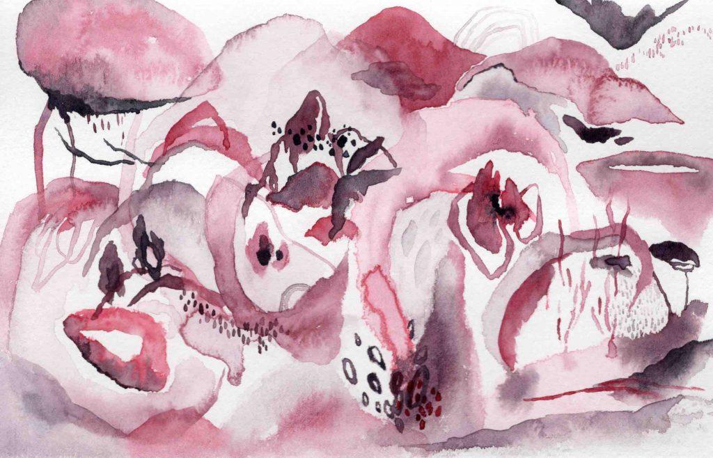"""Untitled [Magenta Landscape]"" (2020) 14 x 21.5 cm. Watercolor on paper."