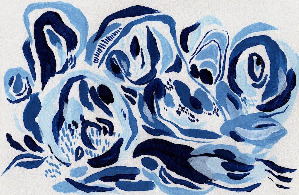 """Liminal Shore"" (2021) Acrylic on paper. 21.5 x 14 cm."