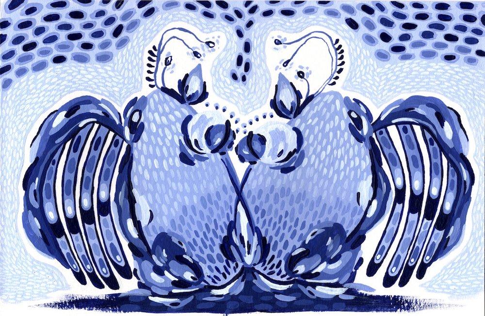 """Winged Lophiiformes"" (2021) Acrylic on paper. 14 x 21 cm."